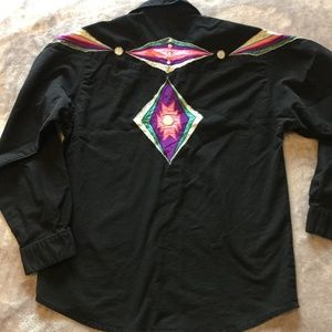 WRANGLER L Black Cowboy Rodeo Blouse